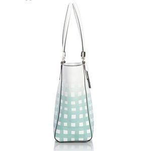 Coach Bags - Coach Madison Gingham Leather tote blue purse bag